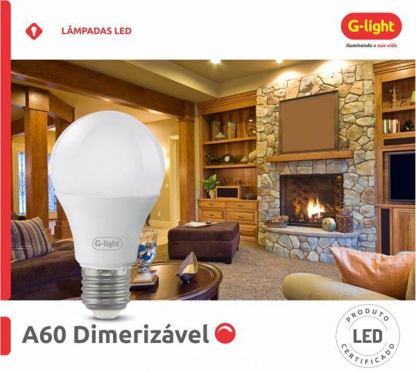 Lampada LED Dimerizavel A60 9W E27 Branco Frio 6500K 220V