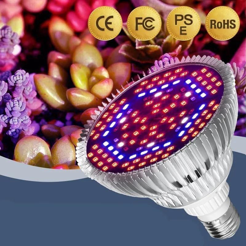 Lâmpada LED Grow 80W E27 Full Spectrum Bivolt 110/220V