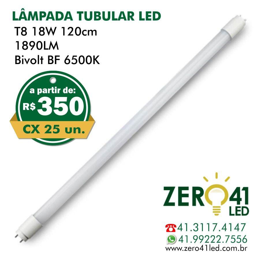 Lâmpada Tubular LED T8 18W 120CM Vidro 1L 1850LM Bivolt Branco Frio 6500K - CAIXA 25 UNIDADES