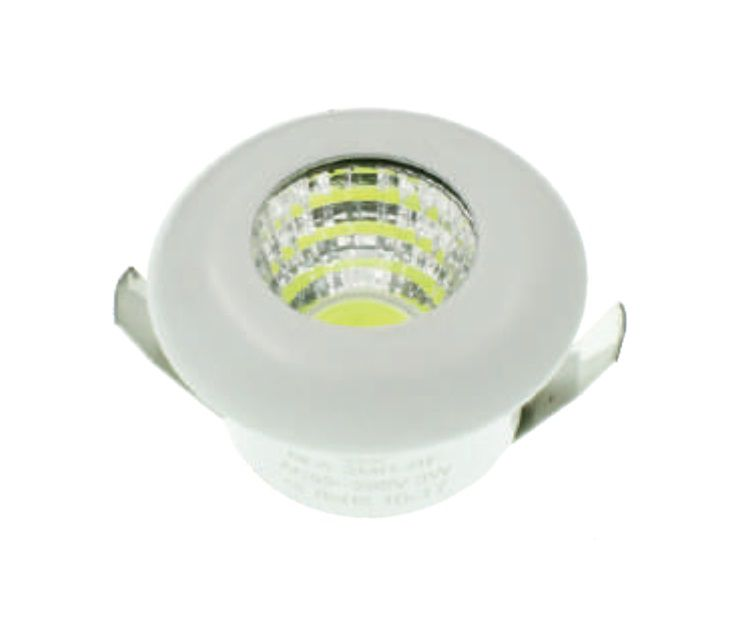 MINI SPOT LED DOWNLIGHT COB 3W ;32MM REDONDO BIVOLT - BRANCO FRIO 6000K