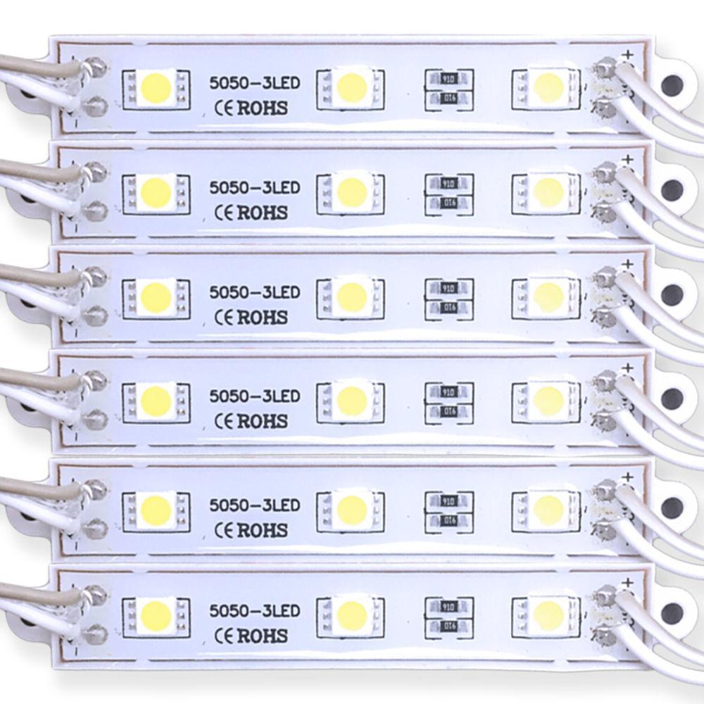 Modulo de LED SMD5050 3 LEDS 0,72W IP65 12V - BRANCO QUENTE 3000K