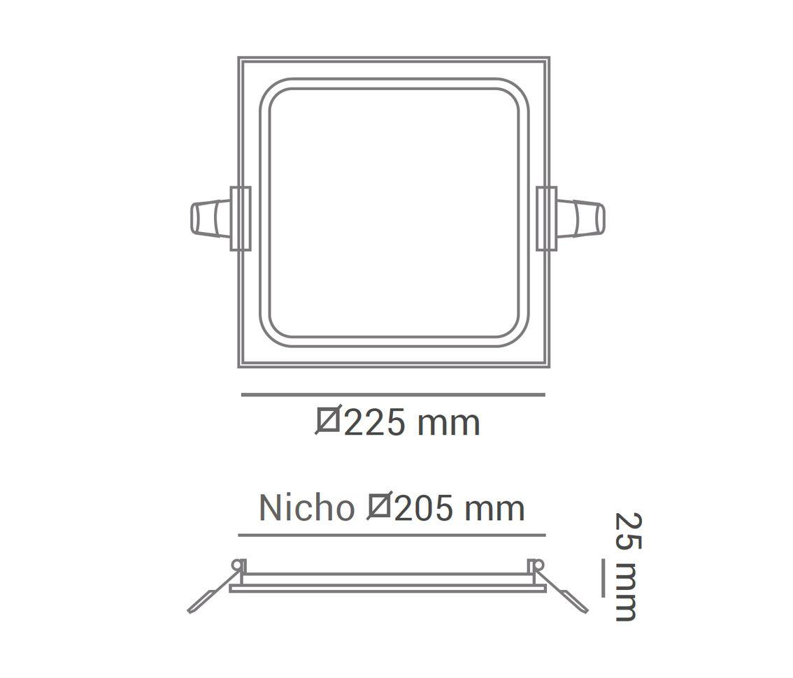 Painel LED Embutir Dimerizável 18W 22X22CM Quadrado 110V - Branco Quente 3000K