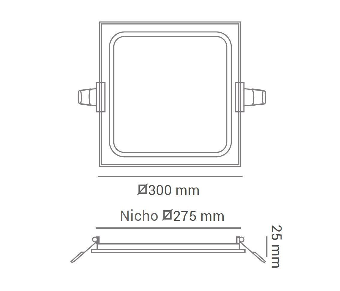 Painel LED Embutir Dimerizável 24W 30X30CM Quadrado 110V - Branco Frio 6000K