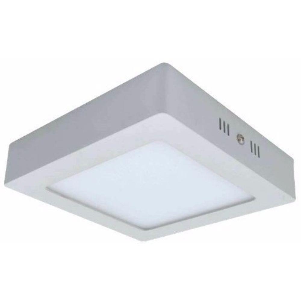 Painel LED Sobrepor 18W 22X22CM Quadrado Bivolt - Branco Quente 3000K