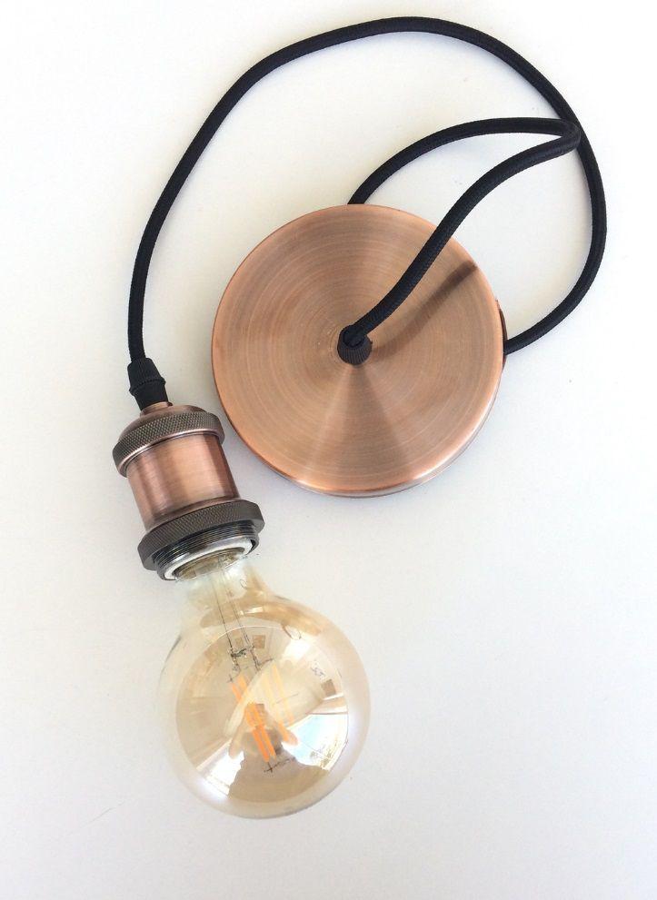 Pendente Retro Vintage Cobre Bocal E27 Com Lampada G95