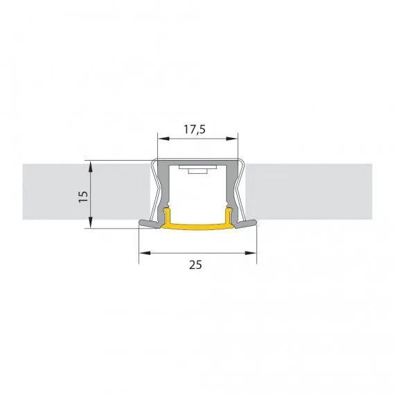 Perfil de Embutir Fita LED 19W/M 12V 1M Aluminio/Natural