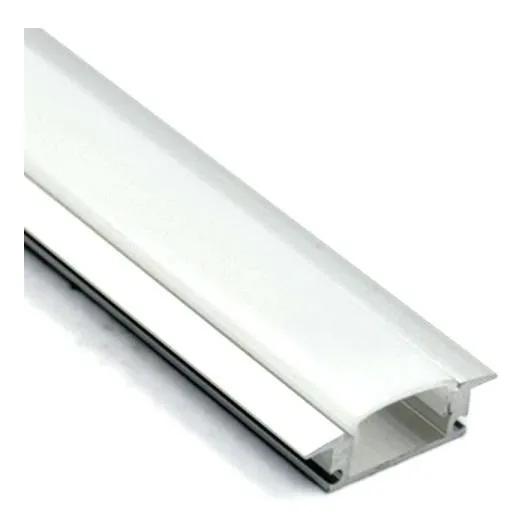 Perfil Embutir 23x7mm Para Fita LED Barra 2 Metros Aluminio/Natural