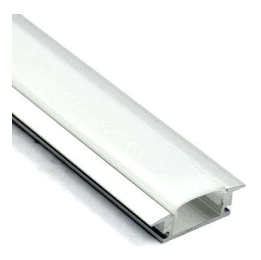Perfil Embutir Para Fita LED Barra 2 Metros Aluminio/Natural 23x07mm