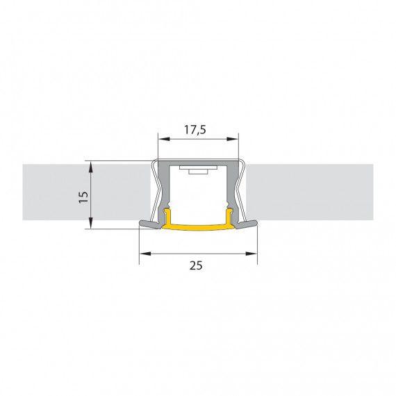 Perfil Embutir Para Fita LED Barra 2 Metros Aluminio/Natural