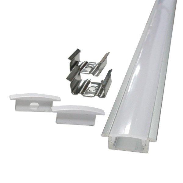 Perfil Embutir Slim Para Fita LED Barra 2 Metros Branco 21x07mm