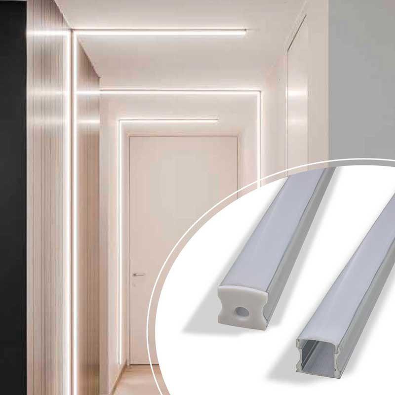 Perfil Sobrepor Para Fita LED Barra 2 Metros Aluminio/Natural