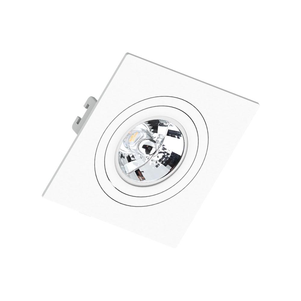 Spot Embutir Click Orientável Face Plana Quadrado AR70 GU10 Branco