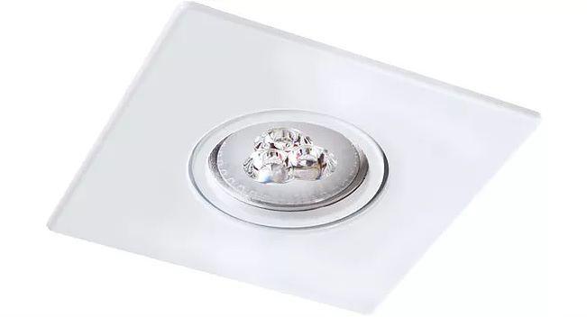 Spot Embutir Click Orientável Face Plana Quadrado Dicroica GU10 Branco
