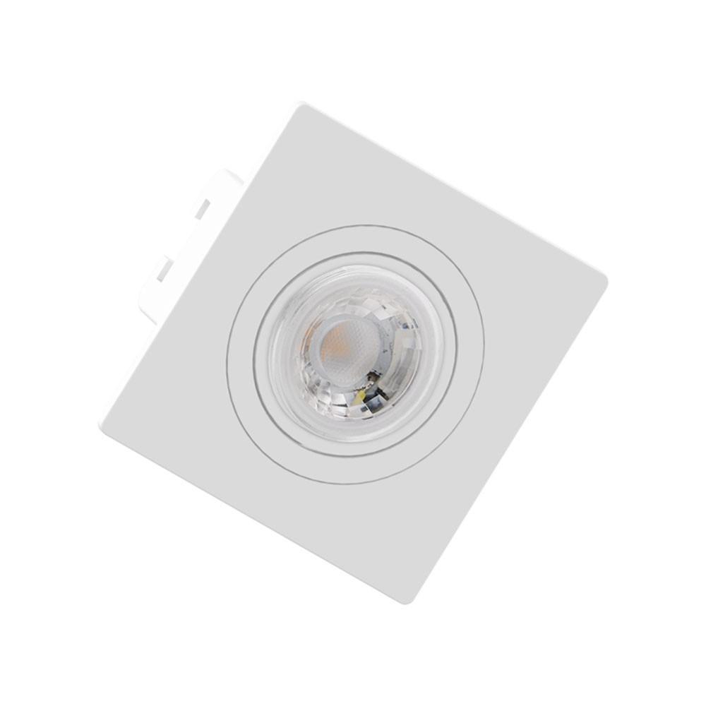 Spot Embutir Click Orientável Face Plana Quadrado Mini Dicroica GU10 Branco