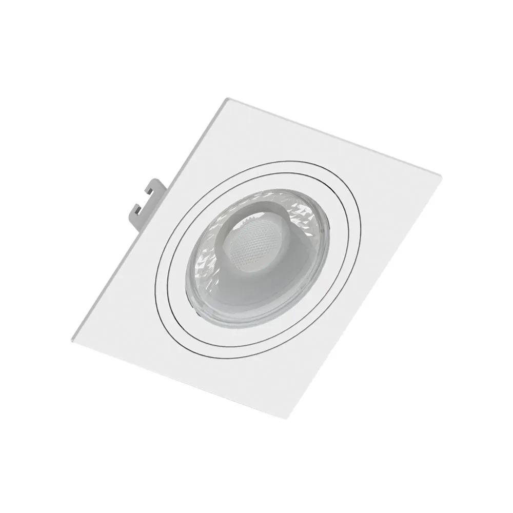 Spot Embutir Click Orientável Face Plana Quadrado PAR20 E27 Branco