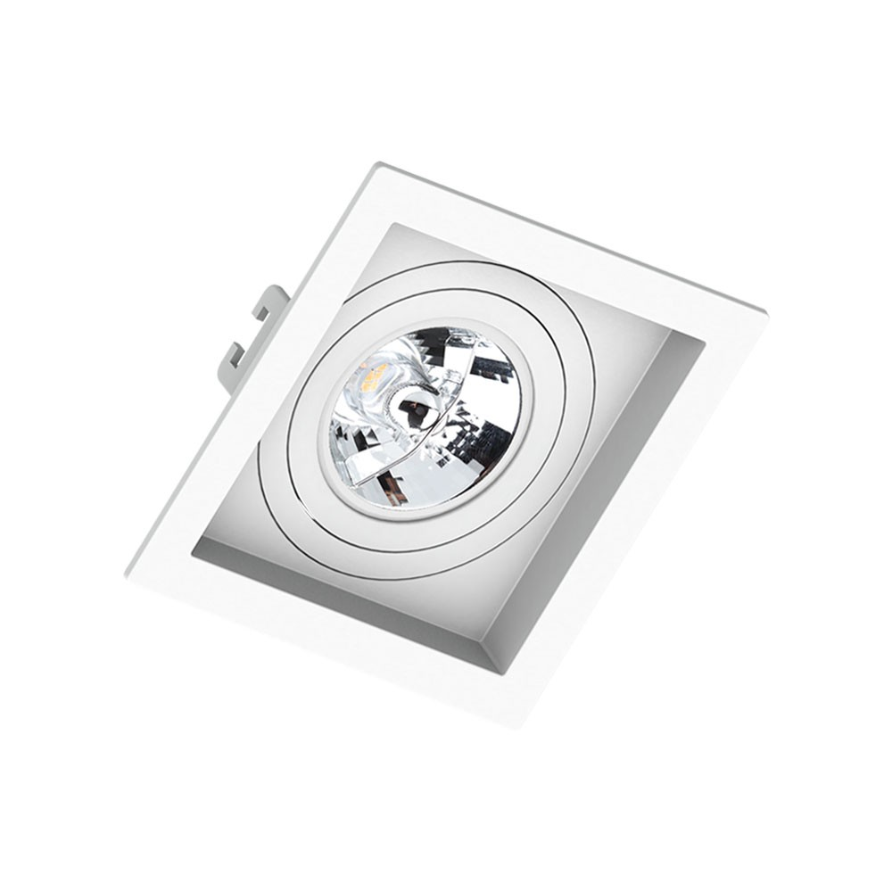 Spot Embutir Click Orientável Recuado Quadrado AR70 GU10 Branco