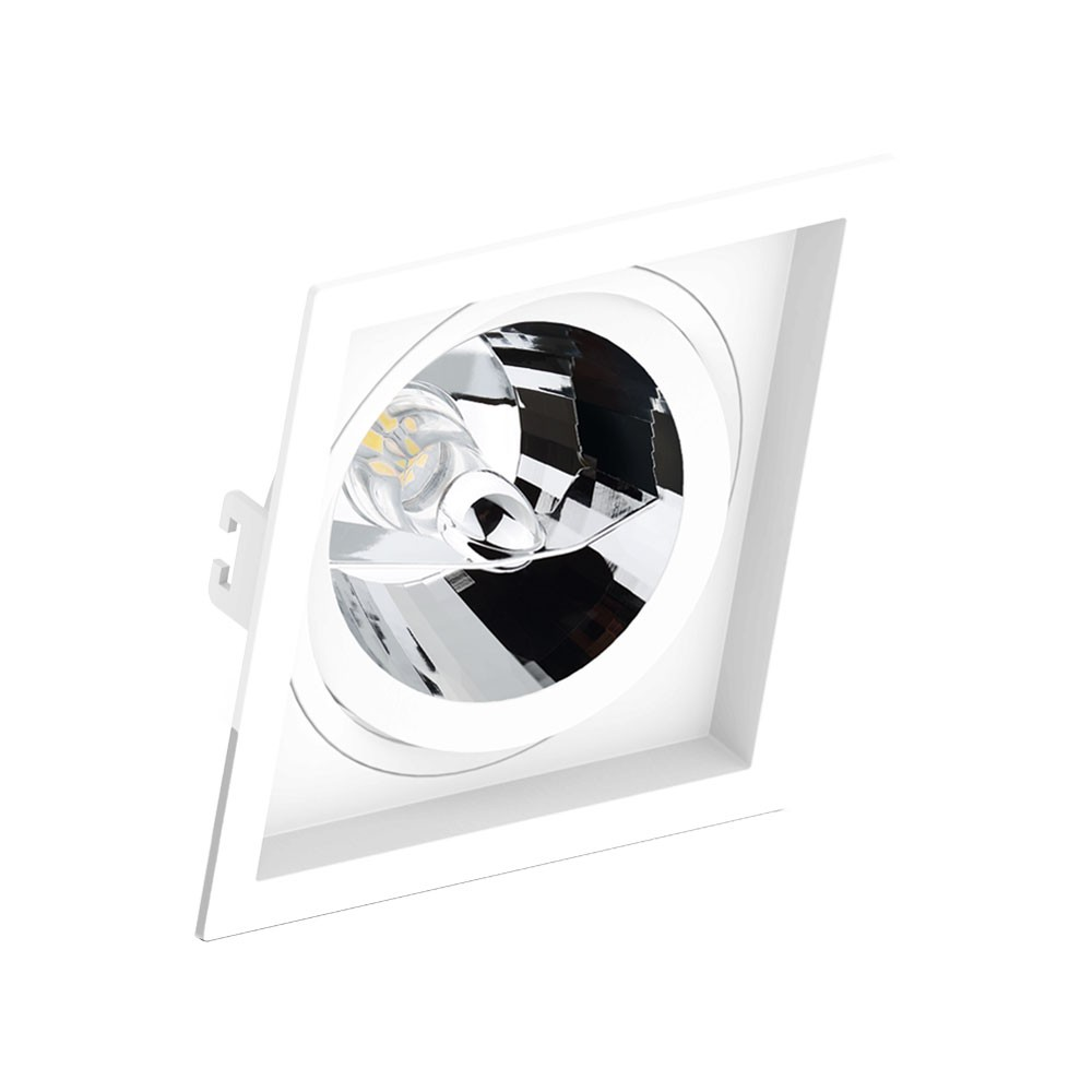 Spot Embutir Orientável Face recuado Quadrado AR111 GU10 Branco