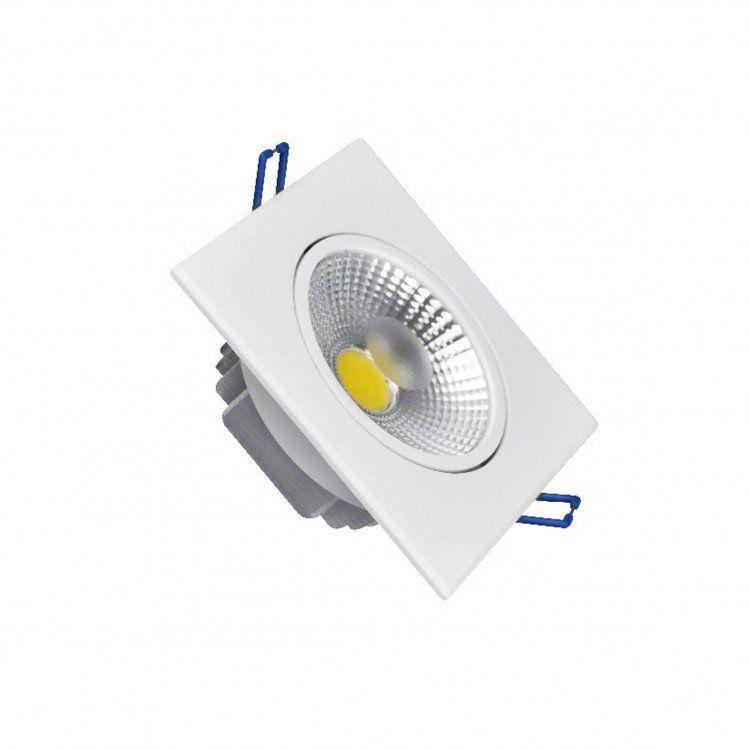 SPOT LED DOWNLIGHT COB 10W DIRECIONÁVEL 110MM QUADRADO BIVOLT - BRANCO QUENTE 3000K