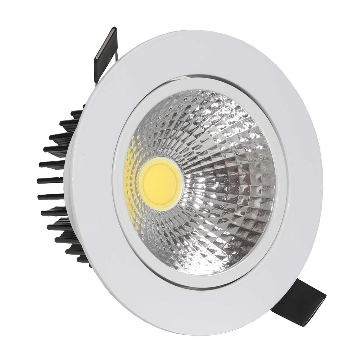 SPOT LED DOWNLIGHT COB 10W DIRECIONÁVEL ∅140MM REDONDO BIVOLT - BRANCO QUENTE 3000K