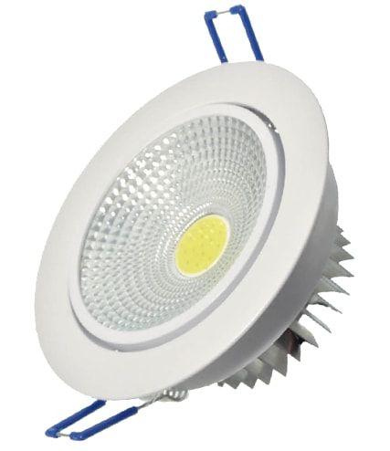 SPOT LED DOWNLIGHT COB 5W DIRECIONÁVEL ∅100MM REDONDO BIVOLT - BRANCO FRIO 6500K