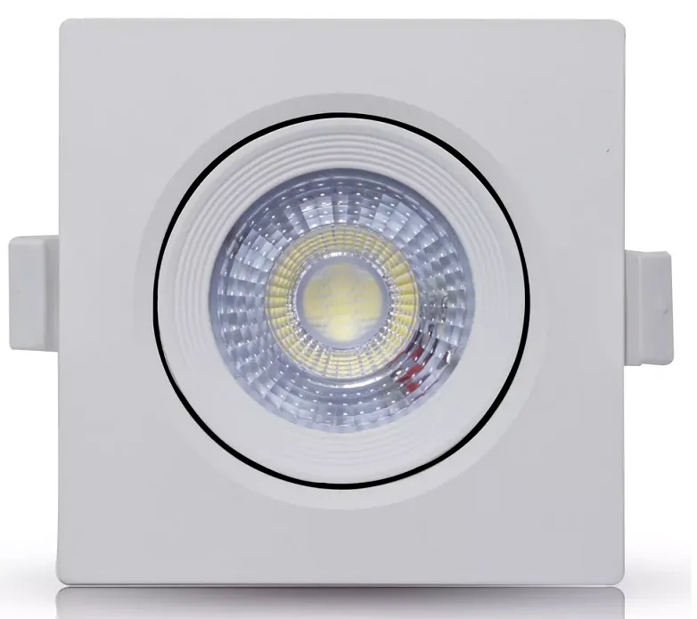 SPOT LED EMBUTIR 5W DIRECIONÁVEL 88x88MM QUADRADO BIVOLT - BRANCO NEUTRO 4000K