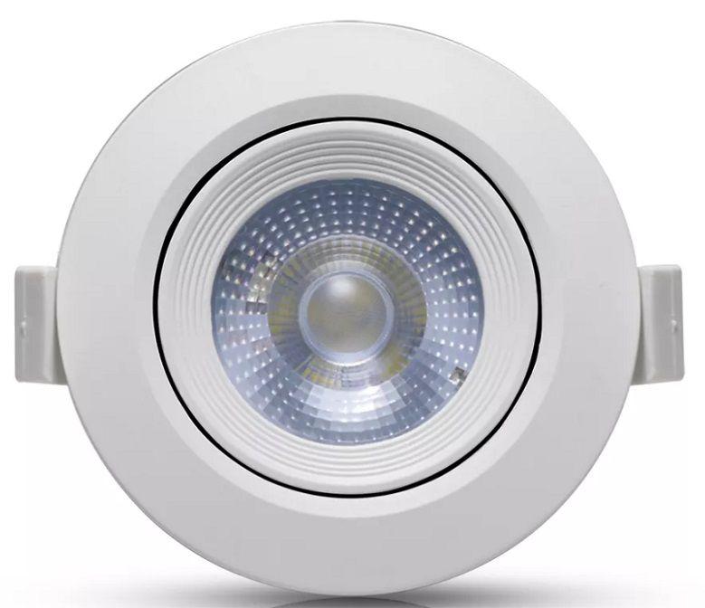 SPOT LED EMBUTIR 6.5W DIRECIONÁVEL ∅90MM REDONDO BIVOLT - BRANCO FRIO 6500K