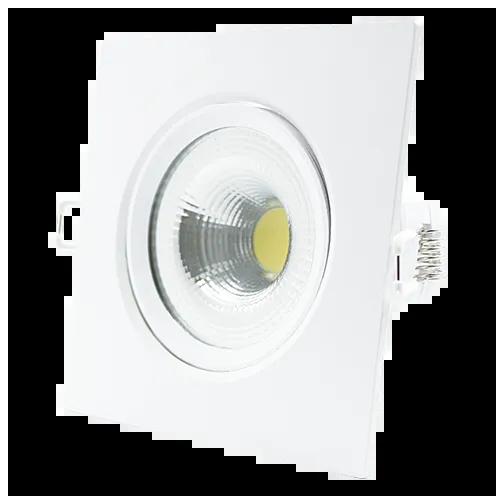 SPOT LED EMBUTIR 7W DIRECIONÁVEL 117x117MM QUADRADO BIVOLT - BRANCO QUENTE 3000K