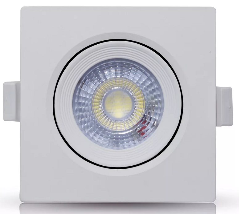 SPOT LED EMBUTIR 9W DIRECIONÁVEL 110x110MM QUADRADO BIVOLT - BRANCO FRIO 6500K