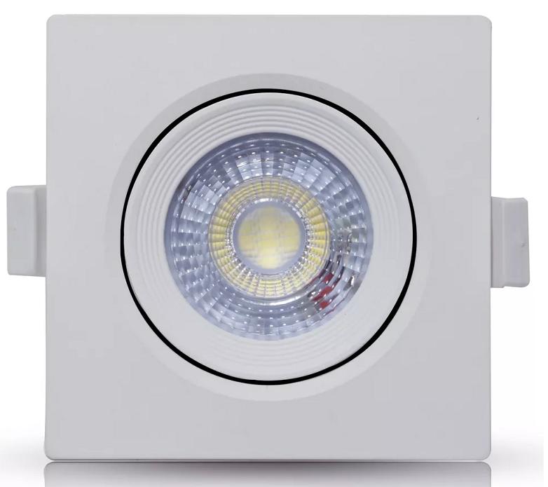 SPOT LED EMBUTIR 9W DIRECIONÁVEL 110x110MM QUADRADO BIVOLT - BRANCO QUENTE 3000K