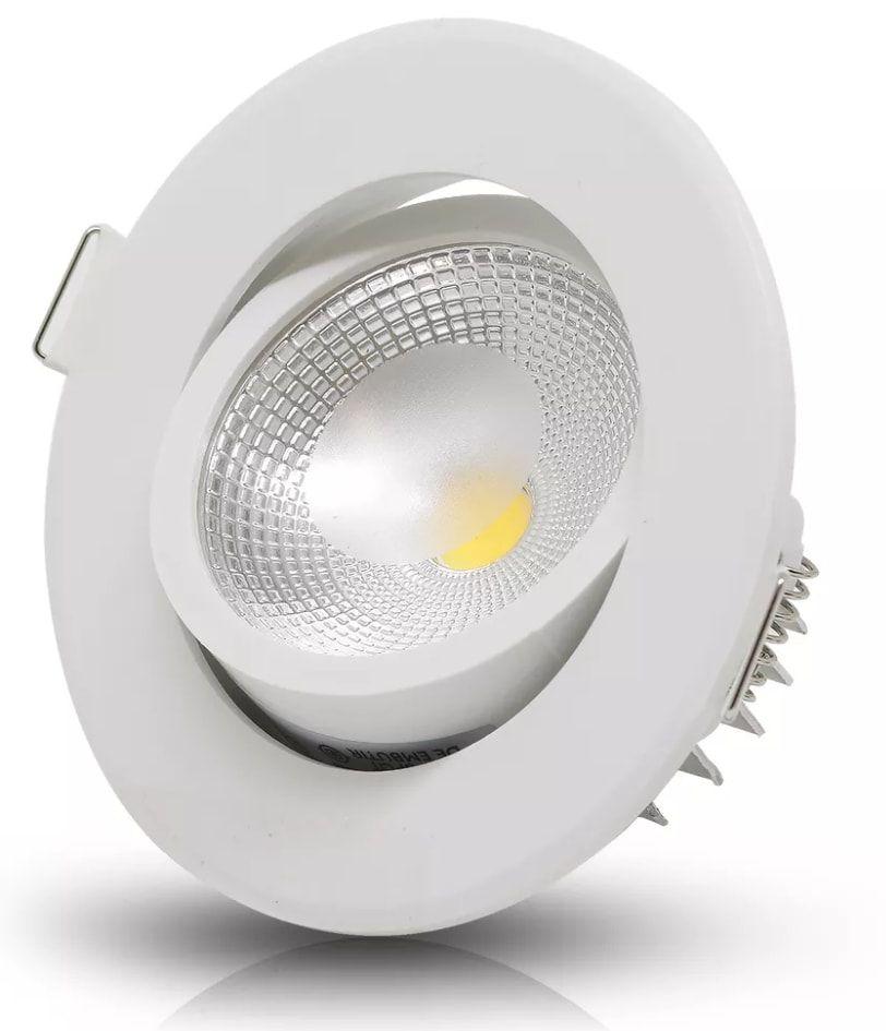 SPOT LED EMBUTIR COB 5W REDONDO BIVOLT - BRANCO FRIO 6500K