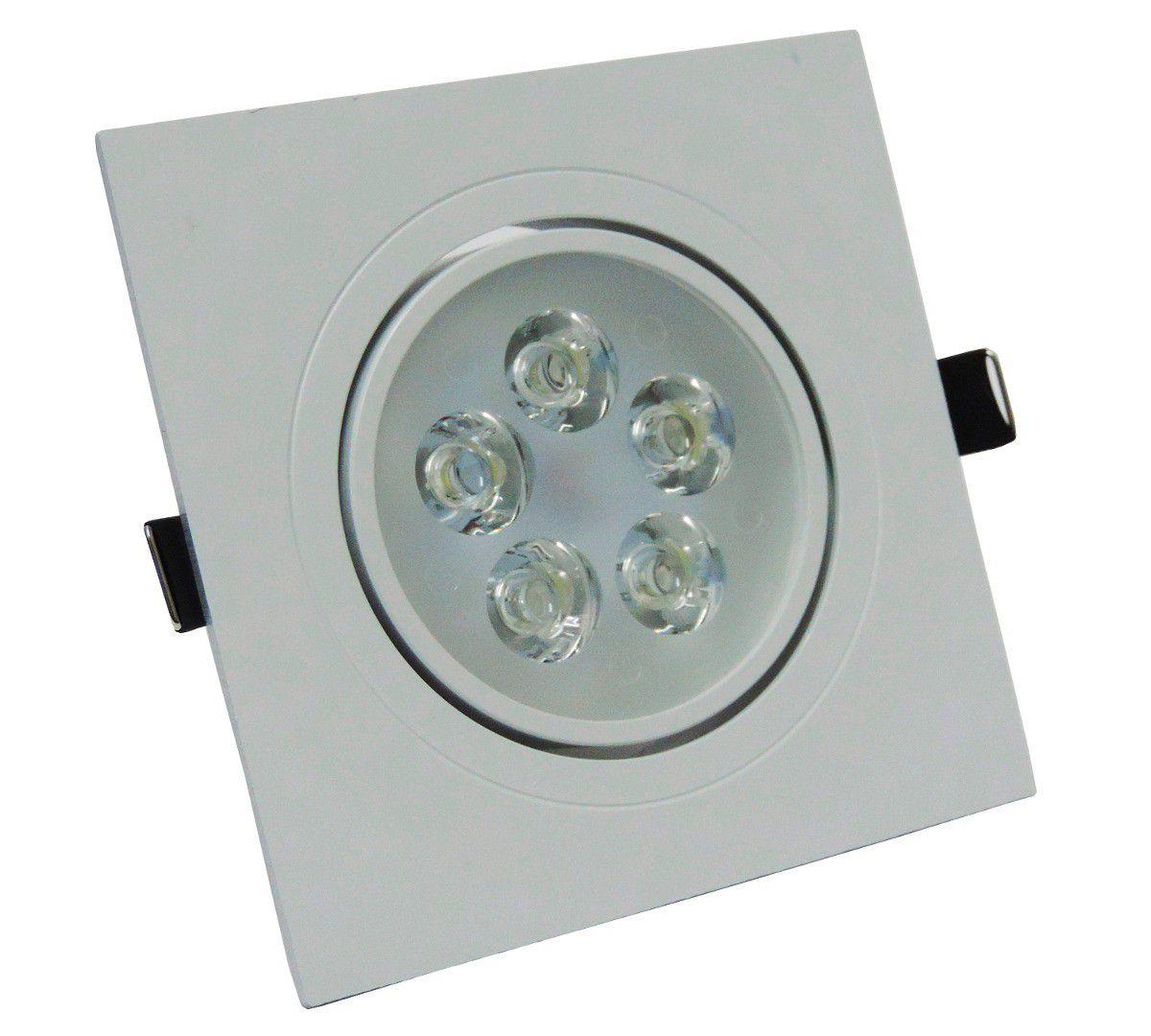 SPOT LED EMBUTIR SMD 5W DIRECIONÁVEL 120x120MM QUADRADO BIVOLT - BRANCO FRIO 6500K