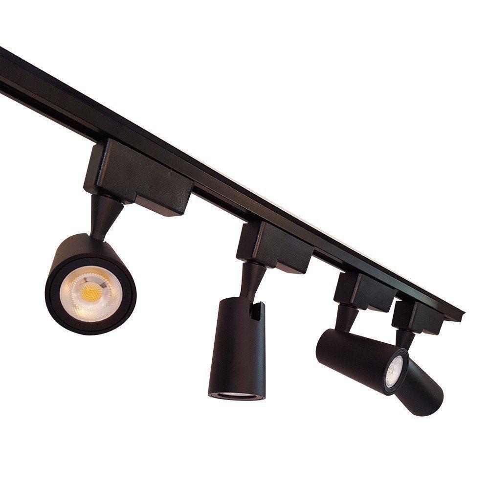 Spot LED Trilho 12W Preto Bivolt Branco Quente 3000K