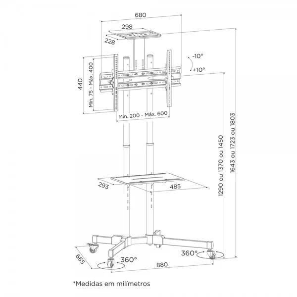 Rack / Suporte Pedestal para TV LCD / LED, Para tela de 37-75 - FT-64EXs