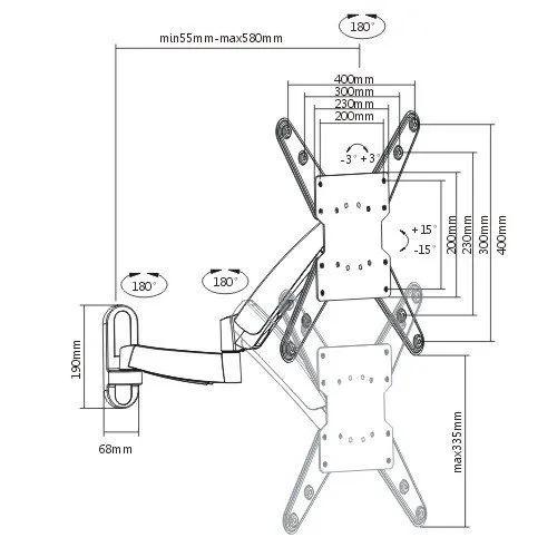 Suporte articulado com regulagem de altura de 26''-47'' LDA08-442