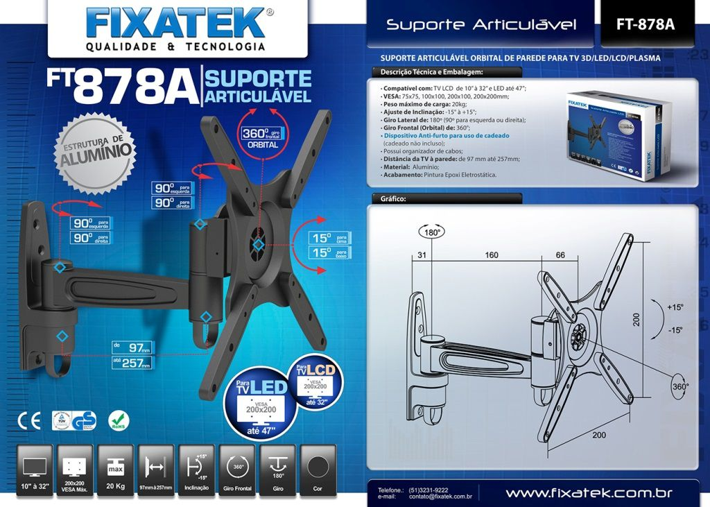 """Suporte Articulável (Orbital) para TV LED até 39"""" FT-878A-FIXATEK"""