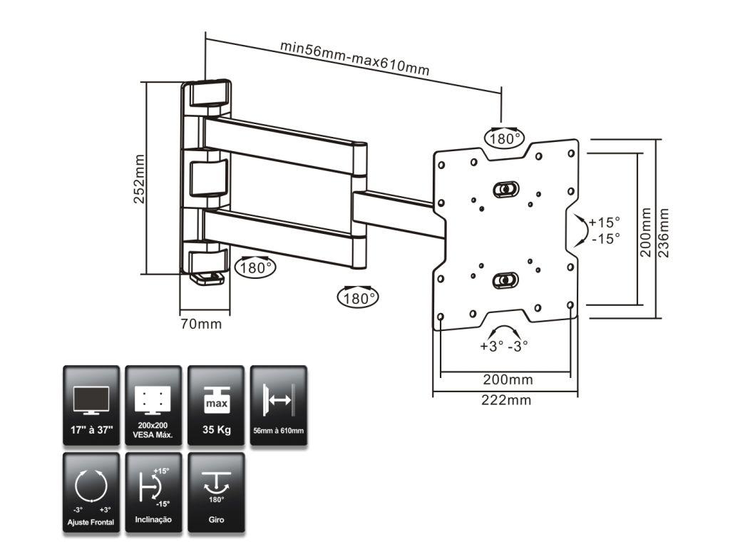"""Suporte de TV Articulado LED até 47"""" e LCD / Plasma 26-32"""" FT-2261S FIXATEK"""