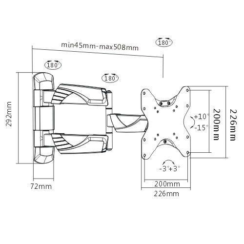 Suporte Articulado e Inclinável de TV para LED FT-225P FIXATEK