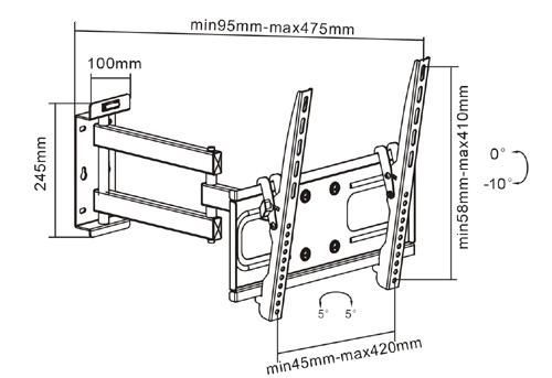 Suporte de TV LCD / LED Articulado FT-944 FIXATEK