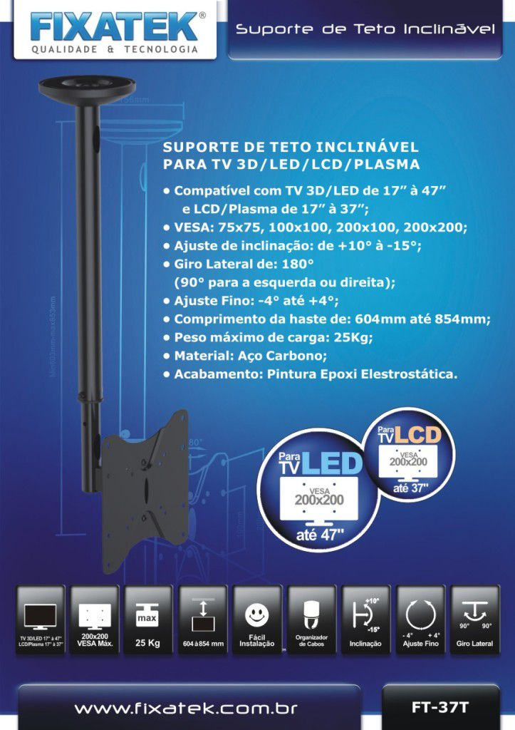 "Suporte de TV LED até 47"" e LCD / Plasma 32-42"" de Teto FT-37T FIXATEK"