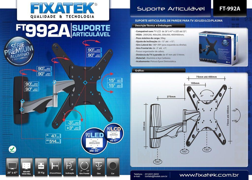 """Suporte de Articulado TV LED até 55"""" e LCD / Plasma 32-47"""" FT-992A FIXATEK"""