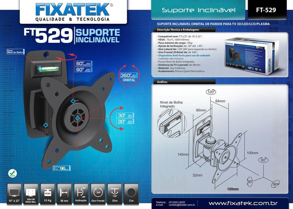 "SUPORTE DE TV LED / LCD 10-26"" FT-529 FIXATEK"