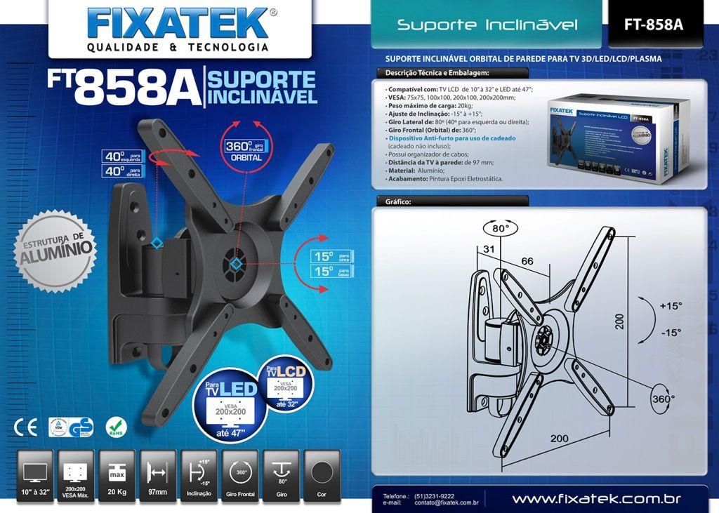 """Suporte Inclinável para TV LED até 39"""" FT-858A - FIXATEK"""