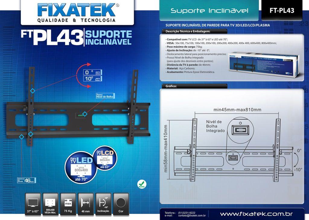 """Suporte Inclinável para TV LED até 55"""" FT-PL43 FIXATEK"""