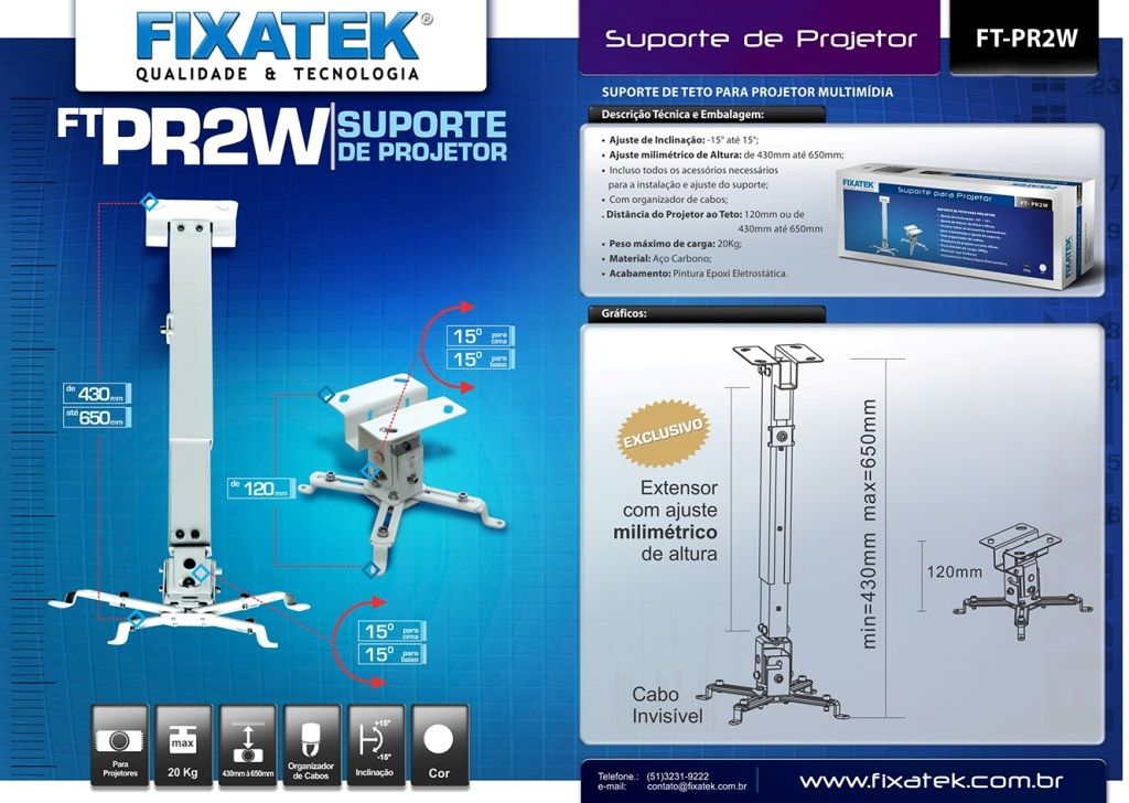 Suporte para Projetor Multimídia Branco FT-PR2W FIXATEK