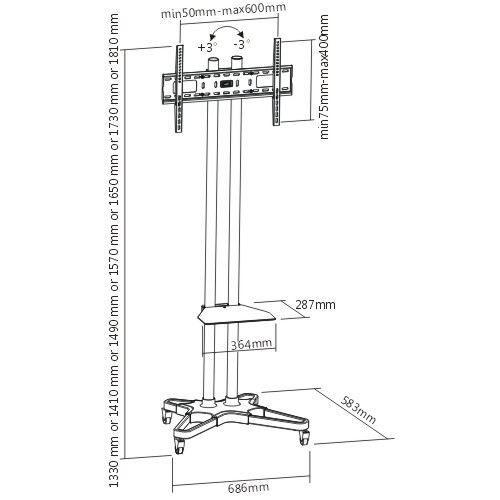 """Rack / Suporte Pedestal com rodas e travas para TV LCD / LED para tela de 37""""-75"""" FT-6418B - FIXATEK"""