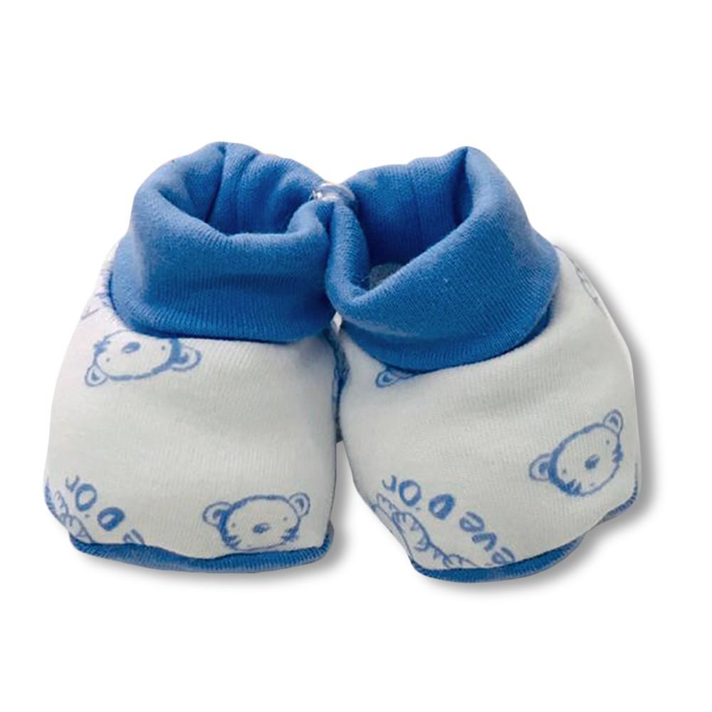 Kit Bebê Boné Luva e Pantufa Revedor Tigrinho Azul