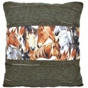Almofada Cowboys Cinza Cavalos e Linhas Horizontais