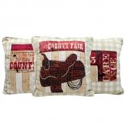 Almofada Country Cowboys Bege Sela Kit 3 Unidades