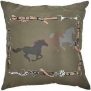 Almofada Cowboys Marrom Rédeas e Cavalos