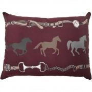 Almofada Cowboys Bordô Rédeas e Cavalos